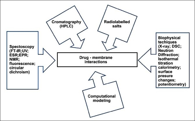Figure 3 :Outline of the main analytical techniques applied for studying the interaction between drug or drug carriers and biomembrane models