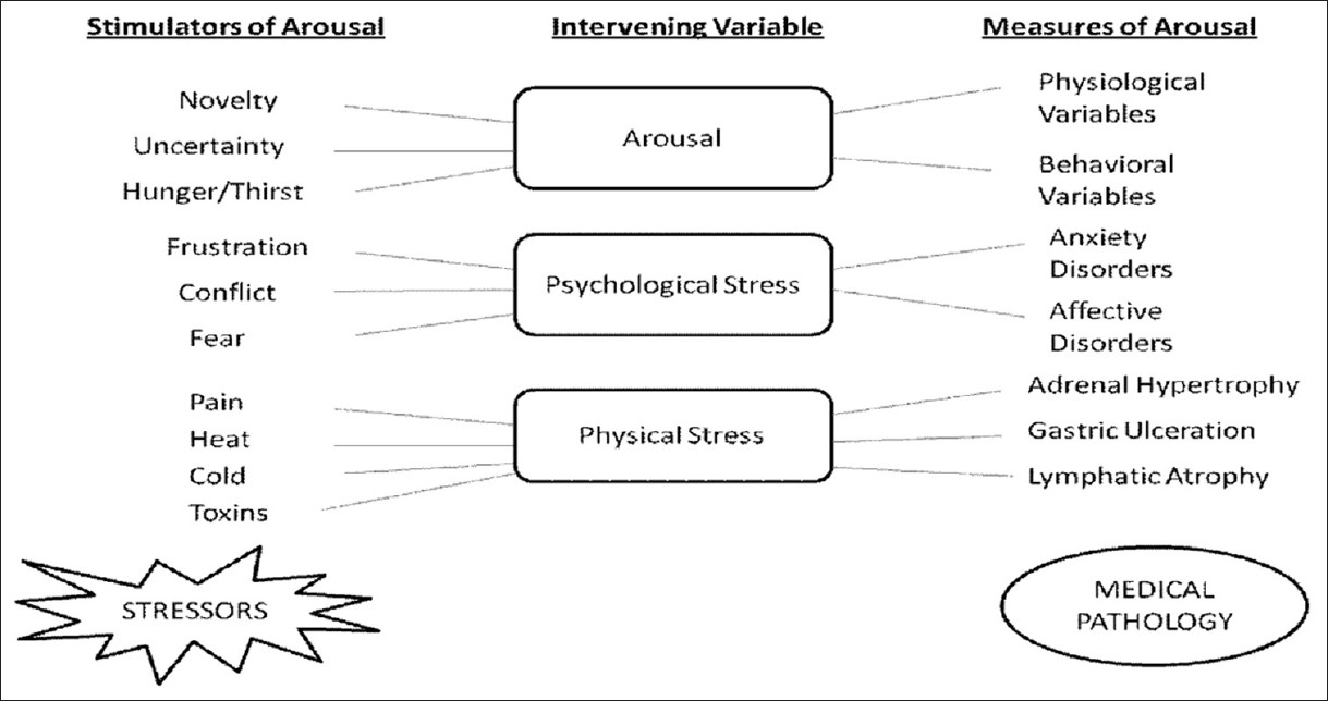 Figure 1: Relationship between arousal, psychological stress, physical stress and pathology