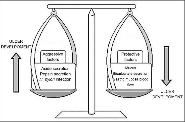 Figure 1: Balance between gastro-protective and aggressive factors