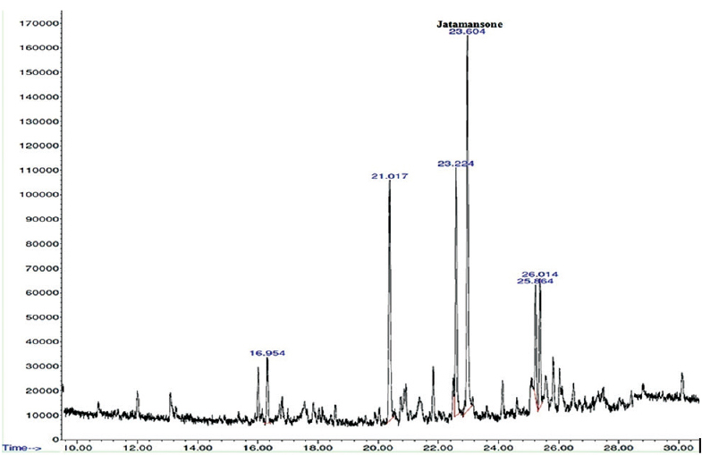 Figure 4: GC-MS chromatogram of hexane soluble fraction of jatamansi extract