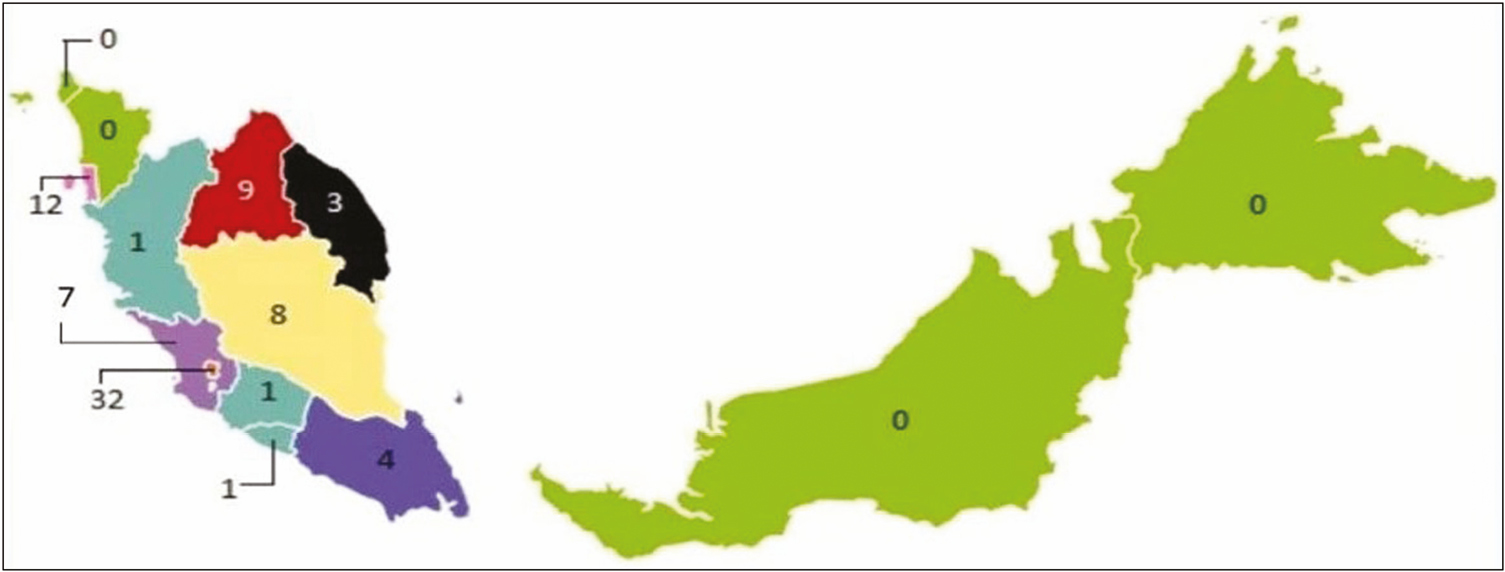 Figure 1: Geographical distribution of the opioids research conducted in Malaysia based on the first author affiliation