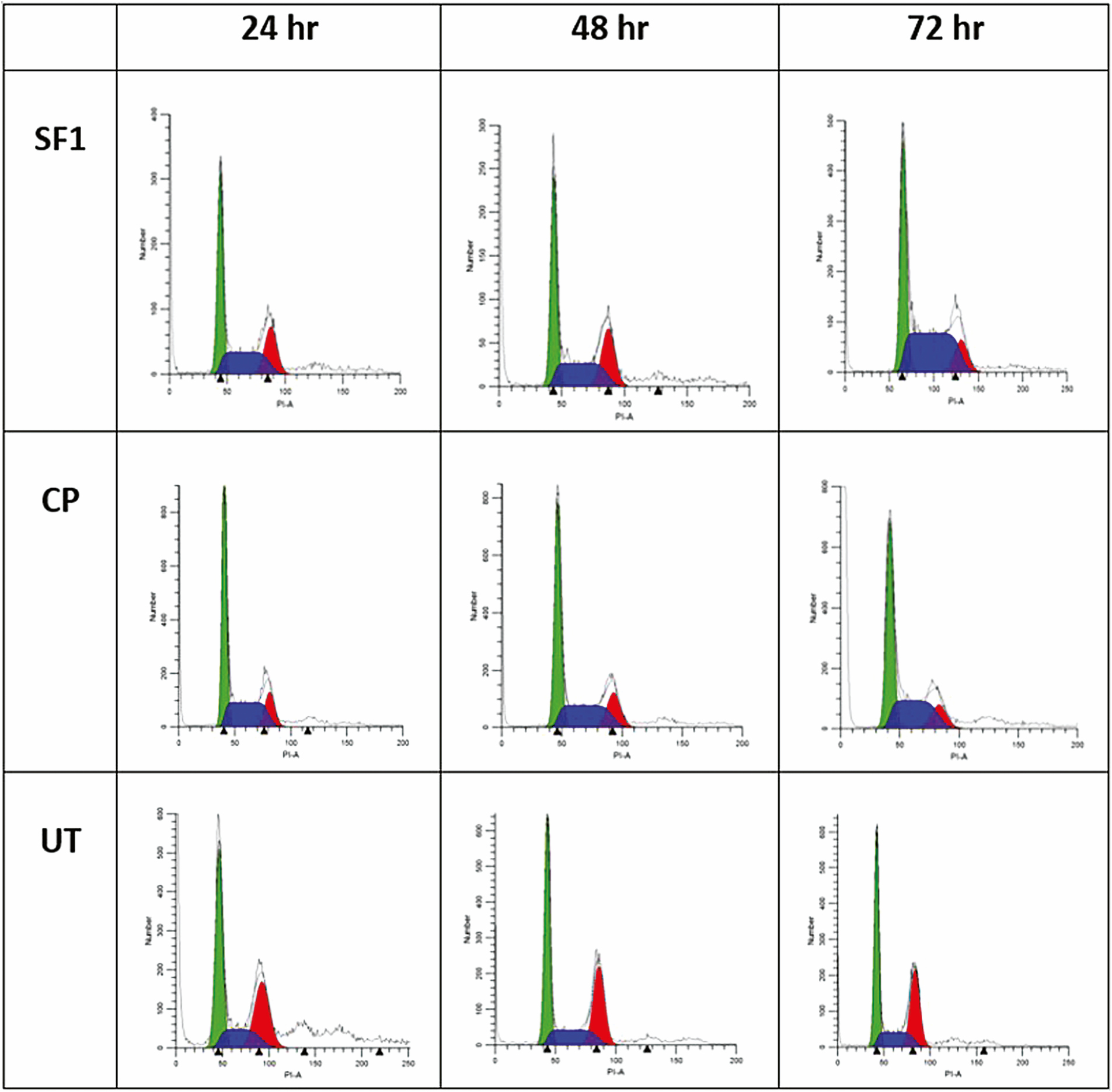 Figure 6: DNA content of SiHa cells in untreated SiHa cells (UT), standardized fraction-treated SiHa cells (SF1), and cisplatin-treated SiHa cells (CP) for 24, 48, and 72 h. Similar plots were observed in three independent experiments (<i>n</i> = 3). Indicator: Green = G1/S, Blue = S, Red = G2/M